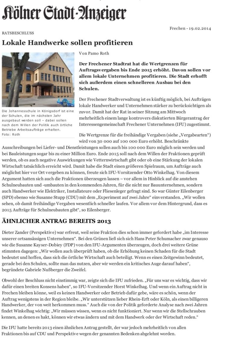 Klner Stadt-Anzeiger- Lokale Handwerke sollen profitieren